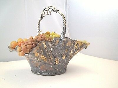 """1800"""" SIMPSON HALL MILLER AESTHETIC LARGE BASKET CHERRY GOLD WASH WOVEN HANDLE"""