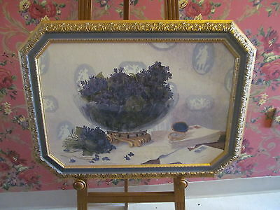 Purple Violets Cameos Letters Old Fashioned Memories Vintage Art Gold Frame
