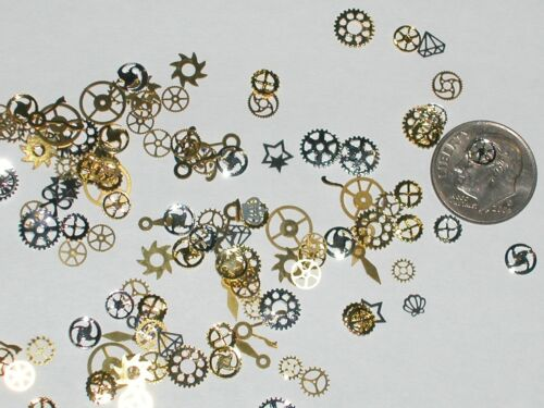 15pc Tiny metal MIX wheels gears charm fairy dust glitter confetti steampunk