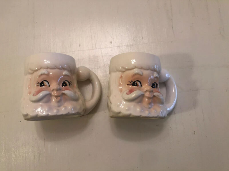 "2 vintage ceramic Lefton Santa face mug / cup, Japan, 3.25"" tall, very nice"