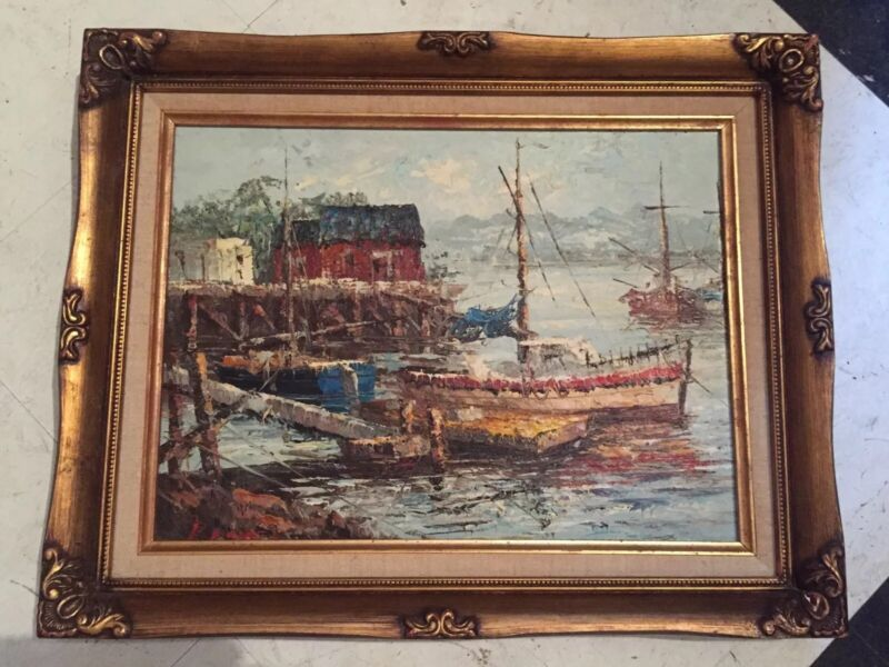 Vintage Signed New England Impressionist Oil Painting Fishing Boats Dock