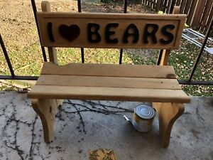 """""""I ❤️ BEARS"""" small size wooden bench"""