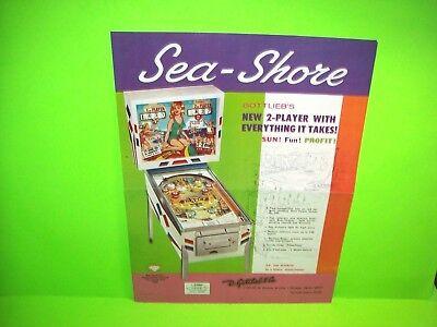 Gottlieb SEA - SHORE 1964 Flipper EM Game Pinball Machine Promo Flyer 2-Sides