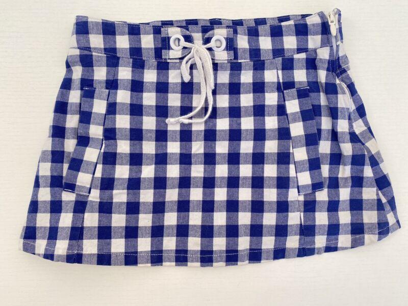 Jacadi Blue & White Checkered Skirt Girls Size 4