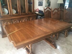 Dining table with matching china cabinet