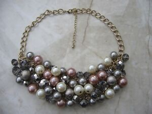 Pearl effect cluster necklace gold colour chain