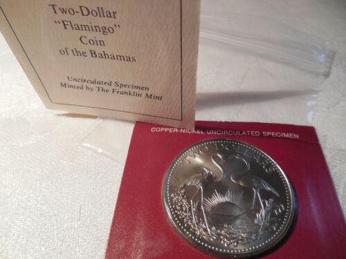 1974 Two Dollar Flamingo Coin of the Bahamas Uncirculated  ***
