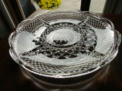 Vintage ANCHOR HOCKING Divided 5 SECTION WEXFORD GLASS SERVING TRAY PLATTER 11""