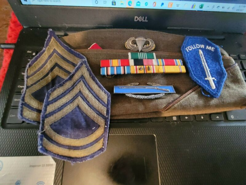 WW2 US Army Ribbons , Sterling Silver CIB, Silver Filled Jump Wings Garrison Cap