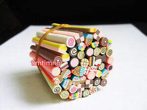 50pcs 3D Nail Art Fimo Canes Stick Rods Polymer Clay Stickers Tips Decoration