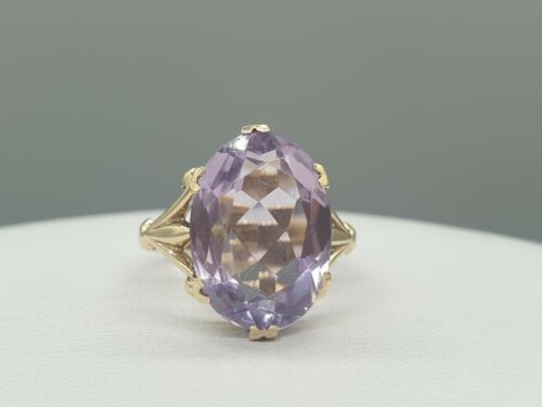 Vintage 9k 9ct gold Amethyst ring large natural stone solitaire dress ring 1961
