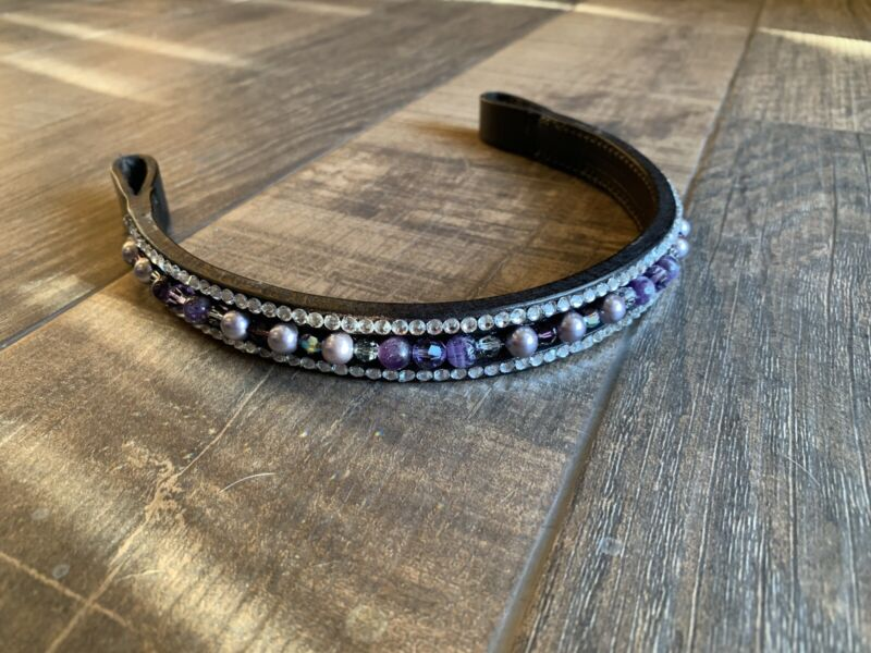 """Elite Sporthorse 16"""" Black Bling Browband Purple And Clear"""