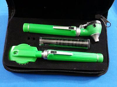 Professional Led Fiber Optic Mini Opthalmoscope Otoscope Diagnostic Set Green