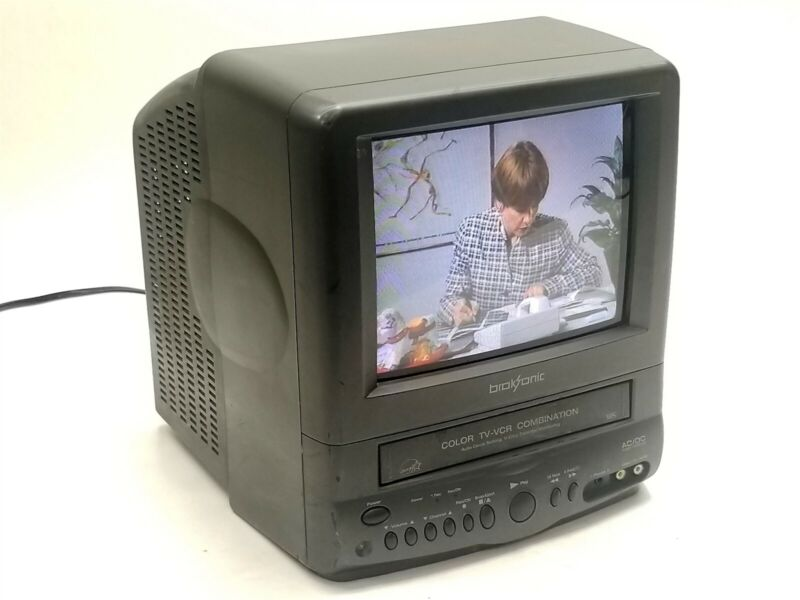 """Broksonic 9"""" CRT Combo CTSGT-2799T Vintage Video Gaming TV + VHS Player Recorder"""