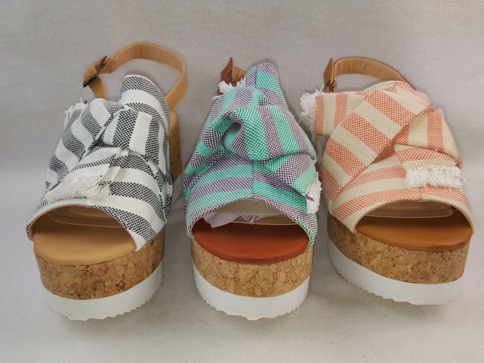 """Nature Breeze """"Sabrina_01"""" Women's Stripped Linen Open Toe Platform Sandals"""