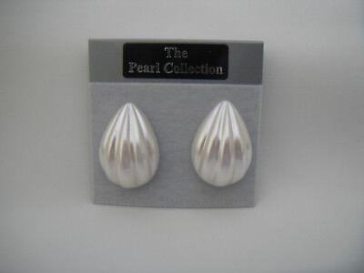 Clip On Bridal White Pearl Teardrop Stud Earrings Shell Pattern 27mm New