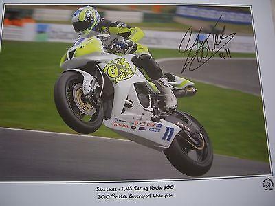 Sam Lowes signed Keith Martin BSS 2010 Champion print Honda 600
