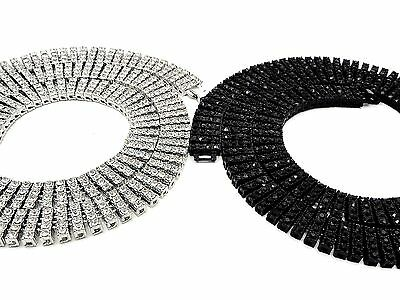Silver Black Row Crystal Necklace - Mens New Silver Black Finish 4 Row Diamond Simulate Crystal Necklace Chain 30