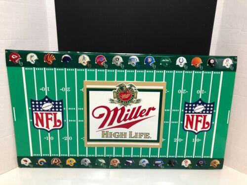 VINTAGE 1991 MILLER HIGH LIFE / NFL STORE ADVERTISING METAL SIGN