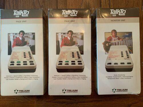 New Sealed Vintage Trillium TalkTo 109 Monitor Unit & TWO Page Units