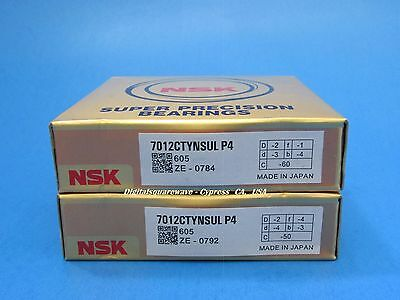 Nsk 7012ctynsulp4 Abec-7 Super Precision Spindle Bearings. Matched Set Of Two