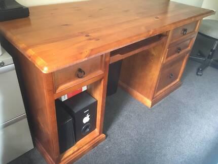 Pine 3 Drawer Work Desk