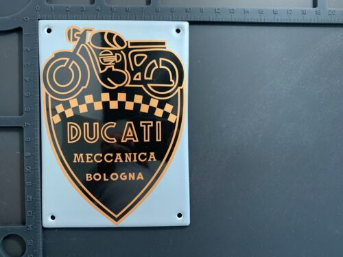 Retro Ducati Meccanica Italy Enamel Metal Garage Shop Plaque Plate Sign Tile