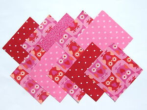 10 Pieces Owl and Hearts Cotton Craft Fabric, 10x10cm. Quilting, Patchwork etc