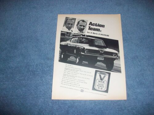 1969 Valvoline Racing Motor Oil Vintage Ad with Sox & Martin Plymouth Cuda