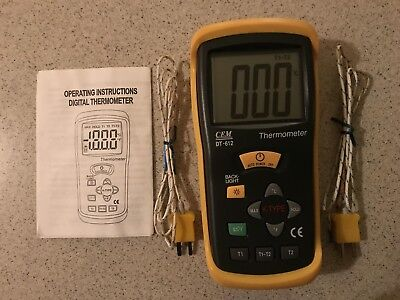 Digital Two-channel Thermocouple Thermometer -50c To 1300c -58 To 2000f Dt-612