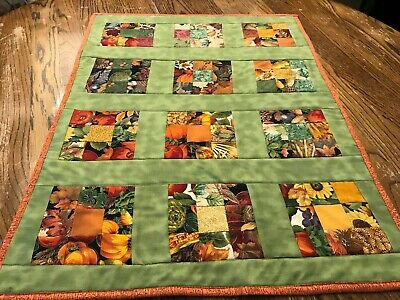 Handmade Quilted Table Runner, Fall 9-Sq.Patchwork with Borders   20.5