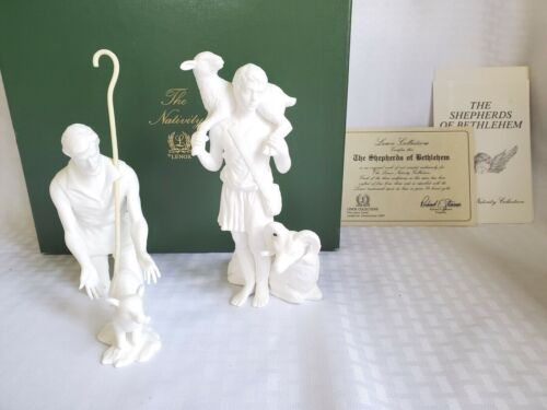 LENOX NATIVITY WHITE SHEPHERDS LAMB RAM STAFF 3 PC Porcelain Figurines BOX COA