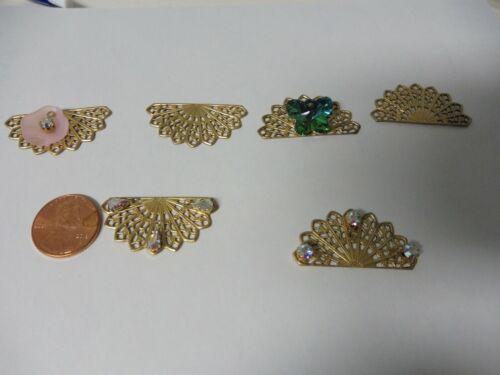 raw brass stampings findings FILIGREE FAN great earring dangles lot of 6  A06