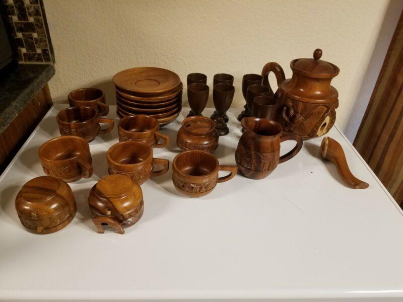 Vintage Carved Monkey Wood Pod Tea Set Philippines