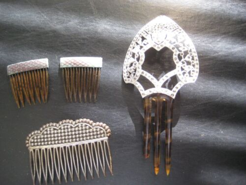 Antique Vintage/Collectable Ornate Hair Combs Haircomb Lot of 4