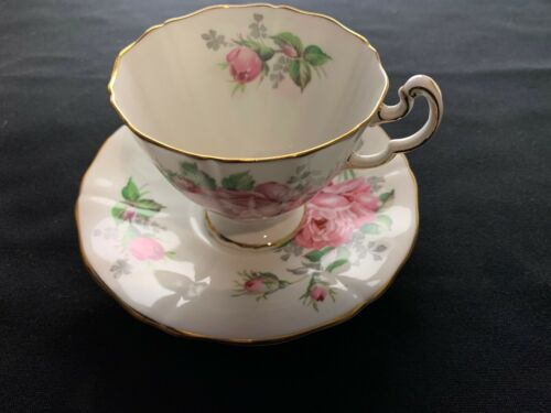 Adderley Pink Rose Fine Bone China Tea Cup And Saucer. Numbered H671