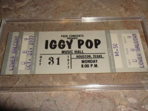 IGGY POP 1977 ORIGINAL VINTAGE UNUSED CONCERT TICKET MUSIC HALL HOUSTON TEXAS US