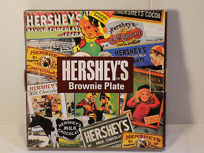 Hershey's Brownie Plate With Hershey's Best Brownies Recipe   EUC With
