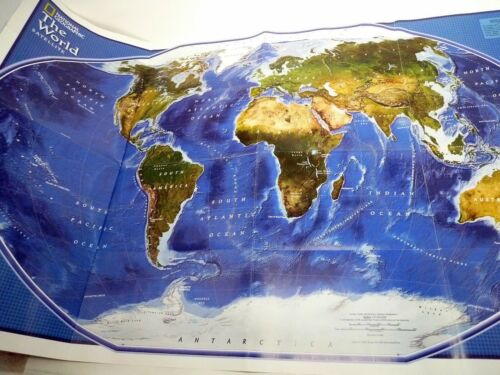 """2001 National Geographic Socity Colored Poster Map 2 Sides 20"""" x 32"""""""