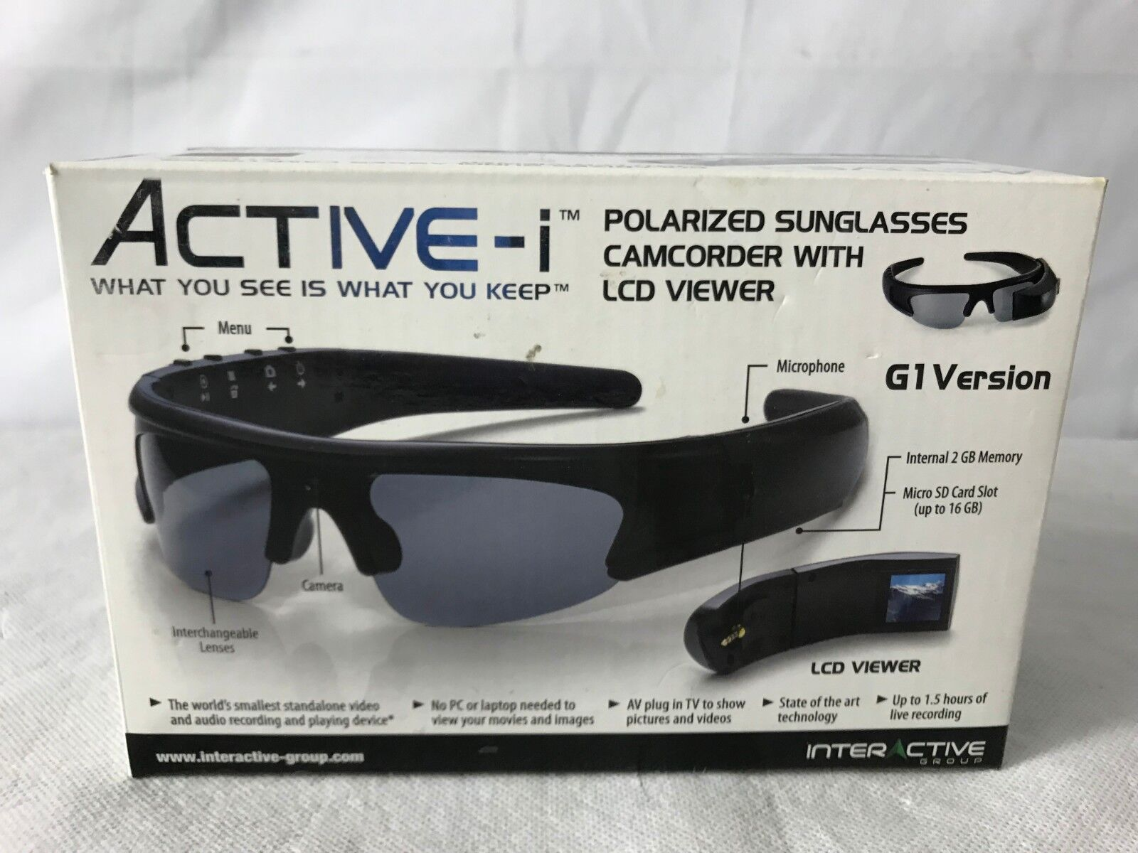 Active i Video Recording Sunglasses with LCD viewer SPY GLASSES G1 Interactive