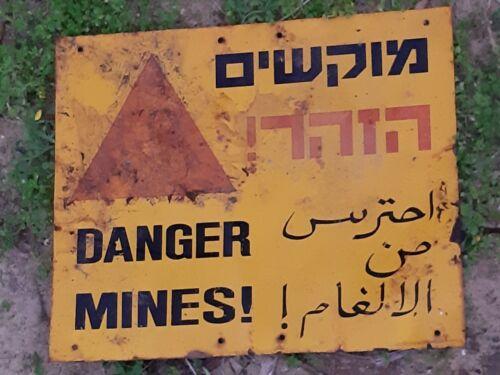 "Israel IDF ""Danger Mines"" Sign From Syrian Border, 100% Genuine"