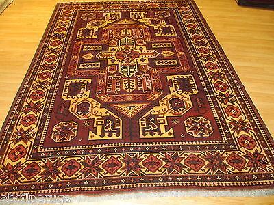 7x10 Caucasian Kazak Geometric Vegetable Dye Handmade Knotted Wool Rug 582115