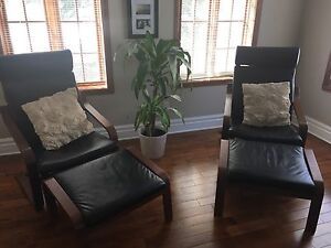 Leather armchair and footstool (one set)
