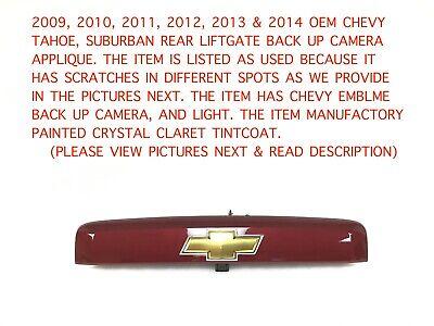 2009-2014 chevy tahoe suburban rear liftgate applique w/ camera (crystal claret)