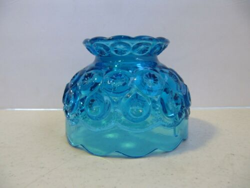 "Moon And Stars Vintage Blue Glass Fairy Lamp Shade 3 1/2"" H x 4 1/2"" D"