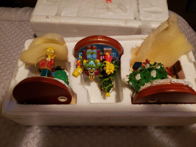 WOW-Rare Set The Bradford Editions The Simpsons Illuminated Christmas Ornaments