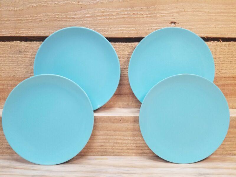 4 Vintage Texas Ware Melmac Melamine Salad Appetizer Plates Turquoise Blue