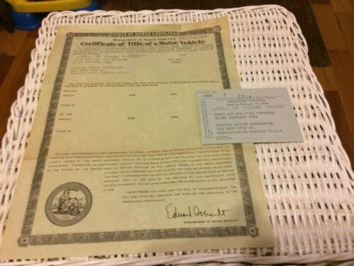Vintage Historical Document Auto Car Title NC North Carolina Chrysler 4 Door