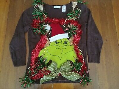 Grinch Women's Ugly Christmas Sweater Small Hand deco OOAK Beads Bows more!