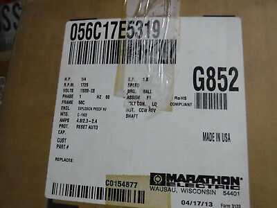 Marathon 0.25 Hp Explosion Proof Motor 1 Phase 1800 Rpm 115208-230 V 56c Fr